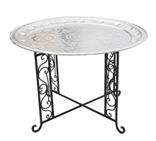 Moroccan  Aluminium Tray Table with Wrought Iron Legs Diameter 76 cm. (ALT16WI)